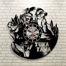 "Free Shipping 1Piece Creative Timepiece The Lion Guard Hanging Wall Clock 12""Vintage Vinyl Record Time Clock Wall Art Home Decor"