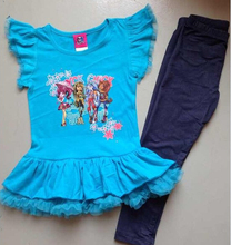 Monster high fashion girls clothes,Brand original,new 2014,kids clothes set,kids girl clothes,girl's 2pcs suit,baby wear