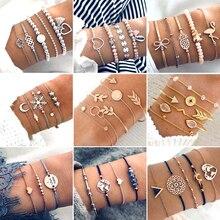 30 Style Boho Bangle Elephant Heart Shell Star Moon Bow Map Crystal Bead Bracelet Women Charm Party Wedding Jewelry Accessories(China)