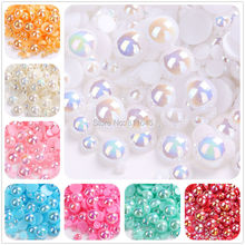 18 Colors AB Color Half Round Pearls,Flatback Pearls,Mix Sizes 2mm-10mm ABS Imitation Pearl Beads For DIY Decoration,Nail Art