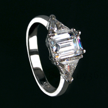 Luxury SONA Simulated Diamond  Engagement Rings For Women 3 carat Emerald Cut love ring (BB)