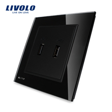 Livolo UK Standard two Gang USB Plug Socket / Wall Outlet ,Black Crystal Glass Panel, VL-W292USB-11.(China)