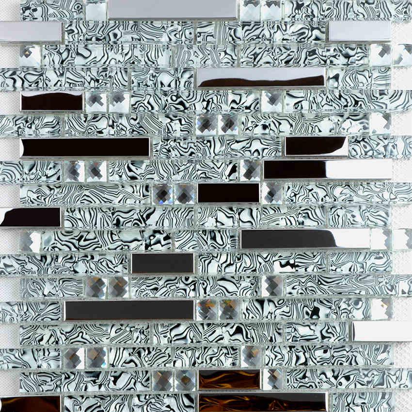 Neue Edelstahl Metall Kristall Glas Mosaik Fliesen Taille Spiegel  Hintergrund Tapete Dusche Küche Backsplash Dekoration