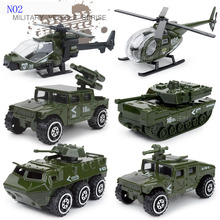 Baby toys car Diecast and toy vehicle 1:87 alloy metal suit 6 pieces car model boy toys frie truck military Policy car toys(China)
