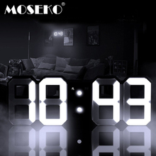 MOSEKO 3D LED Digital Alarm Clock Modern Wall Desk Table Clock with Dimmable Nightlight, Snooze, Auto Memory, 24/12 Hour Display(China)