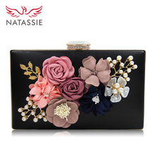 NATASSIE 2017 New Women Black Envelope Evening Clutch Bags Ladies Day Clutches Female Wedding Bag(China)