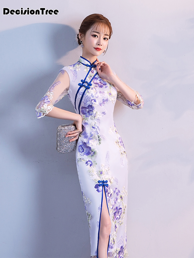 2019 summer chinese style wedding traditional elegant cheongsam dress lace red blue white qipao long dragon and phoenix long