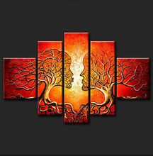 5 Pieces (No Frame) Handmade Modern Abstract Couple Tree Wall Painting Prints On Abstract Lover Tree Art Oil Painting Wall Decor