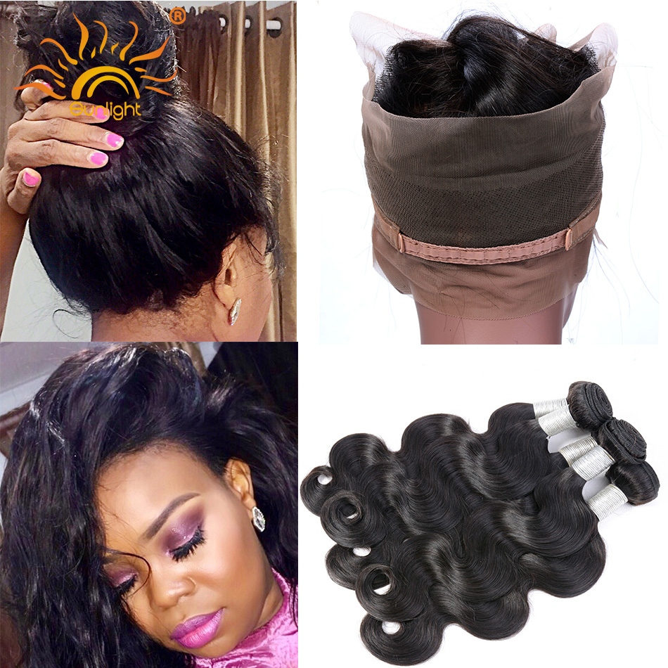 New! Pre Plucked 360 Lace Frontal With Bundle Indian Virgin Hair Body Wave Natural Hair Line 360 Lace Frontal With 3 Bundles<br><br>Aliexpress