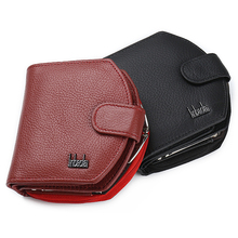 Short Mini Zipper Small Lady Walet Genuine Leather Female Male Men Women Purses Coin Luxury Famous Brand Change Perses Money Bag(China)