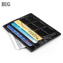 BUG MEN Hot sale Genuine Leather Crocodile pattern Thin Card Case Mens Front Pocket Card Holder Purse Slim Wallet Men Mini Coin(China)