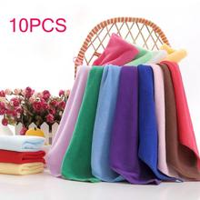 10pcs Multicolor Useful Soft Square Candy Color Microfiber Soothing Cotton Face Hand Towel Cleaning Wash Cloth Kitchen Tool