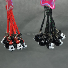Free Shipping 100X Mickey Minnie Mouse Cell Phone Strap JINGLE BELLS Dangle Charms