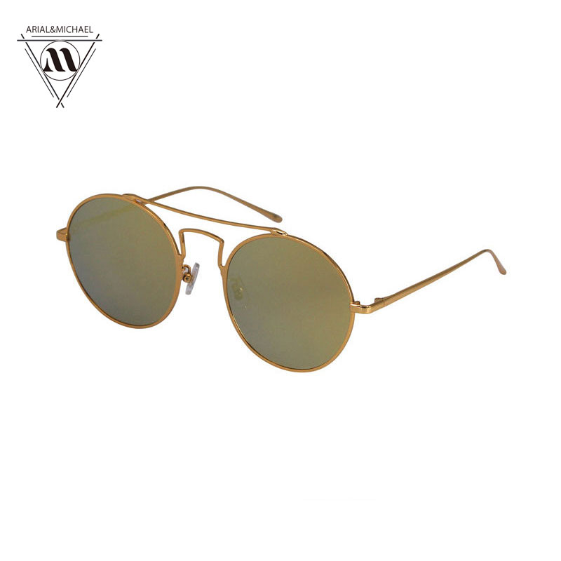Arial&amp;Michael Original Brand Womens Oval Frame Sunglasses Gold Metal Sunglasses Fashion Summer Style Unisex Sunglases Oculos<br><br>Aliexpress