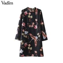 Vadim vintage floral crane pattern straight dress retro long sleeve stand collar Vestidos female chic causal dresses QZ3443(China)