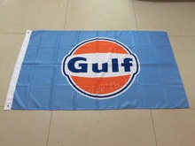 Gulf Racing Checkered Flag 90*150CM polyester Gulf banner with metal hole 3x5 ft