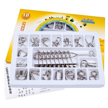 18 PCS/Set IQ Metal Wire Puzzle Mind Brain Teaser Magic Wire Puzzles for Adults Children,Classic Chinese Ring Educational Toys(China)