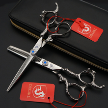 Top grade DRGSKL dragon sapphire hair scissors 6 inch professional barber hairdressing scissors cutting shears tijera peluquero(China)