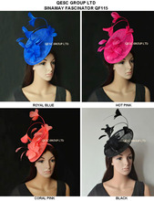 New Arrival. sinamay Feather Fascinator Hat for Melbourne cup,Wedding.Kentucky derby,Races.royal blue,black,hot pink,coral pink.
