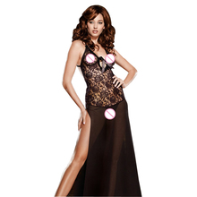 Size Plus S-6XL Sexy Lingerie Black Lace Babydoll Lingerie Night Gown Long Babydoll Sexy Underwear Pajamas Black Dress(China)
