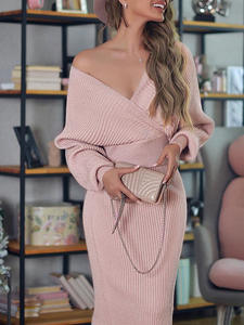 Simplee Pink Dress Suits Sweater Skirt Batwing-Sleeve Knitted V-Neck women Elegant Party