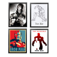 Frameless Modern Movie Character Iron Man Art Prints and Posters canvas painting  for Living Room Bedroom Home Decor DP0151