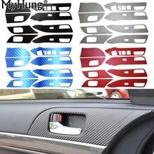MITSUBISHI Lancer EX LHD Carbon Fiber 4 Door Armrest Handle Carbon Fiber Protection Car Stickers 8pcs per set Car-Styling