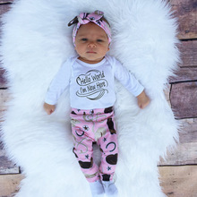 newborn baby girl spring fall set infant baby letter hello world set girls long sleeve romper+pants+hair band+hat 4pcs suit(China)