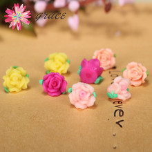 20pc/lot 12mm Mini Polymer Clay Fimo Resin Rose Flowers Diy Little Girls Bracelet Necklace Earrings Hair Clip Accessory Material