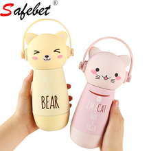 Kids Cartoon Stainless Steel Insulated Water Bottle Lid Rope Cute Animal  Cat Thermos Belly Cup Travel Vacuum Hydro Flask Mug