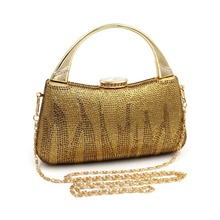 luxury rhinestones women clutch bags diamonds gold Totes ladies vintage chain evening bags crystal wedding bridal handbags purse(China)