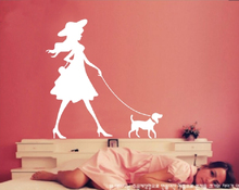 Clothes Shop Wall Sticker Sexy Girl With Dog Mural Art Wall Decal Pet Shop Clothing Store Window Glass Home Deocration(China)