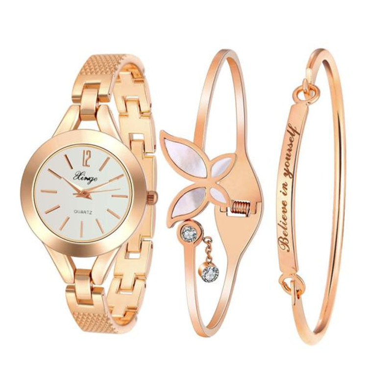 Women Gold Rhinestone Bangle Watch And Bracelet Set 173R Ladies Beauty Bracelet Wristwatches Female Gold Dress Watch s feminino<br>