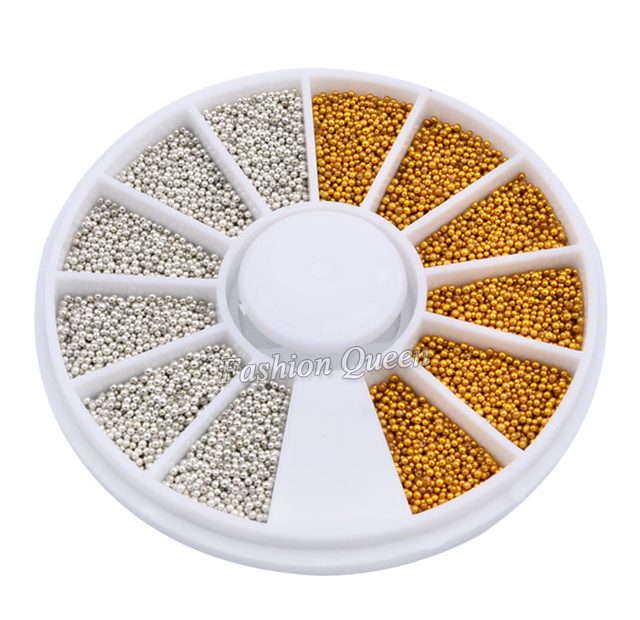 1200pcsset Gold Silver Tiny Circle Beads Nail Art Decoration Wheel 3d DIY Caviar Nail Accessories