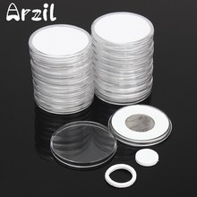 51mm Coins Storage Container Box 20 Pcs/Set Display Capsules Holder Round Ring Applied Clear Plastic Cases Collection Gifts(China)