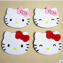 Cartoon Hello Kitty Felt Cloth Home Store Coffee Tea Mat Coaste(China)