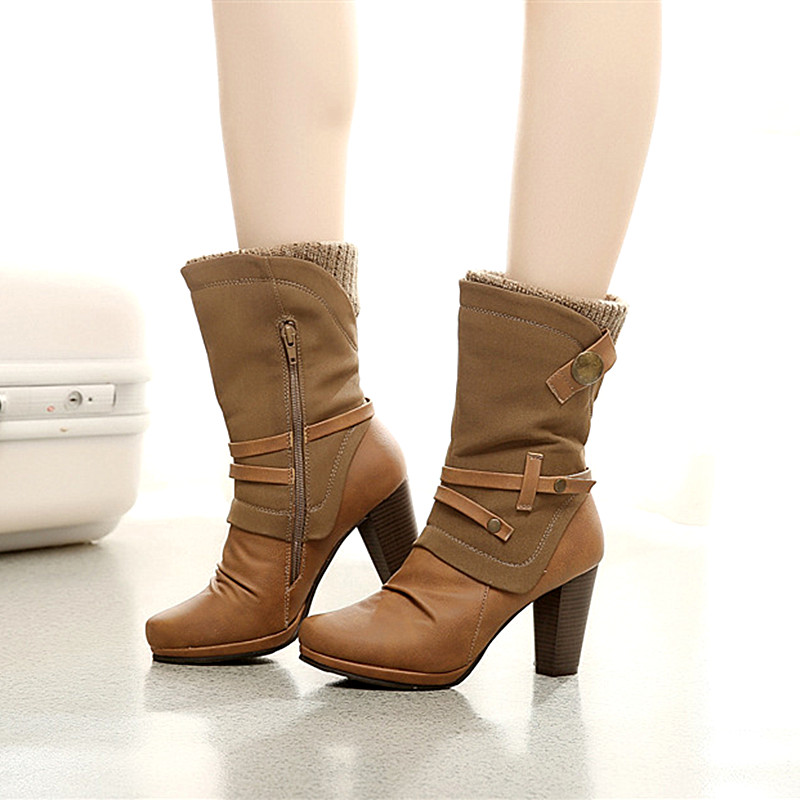 Design 2017 Fashion Women Boots Sexy Mid-Calf Winter Boots Female High Heels Boots Botas Mujer Khaki 5 cm height Size 35-42<br><br>Aliexpress