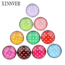 10Pcs/lot Colorful Spot Snap Button Glass Stone Random Styles Color Pattern&Type 18mm Xinnver Snap For Snaps Jewelry ZB318(China)