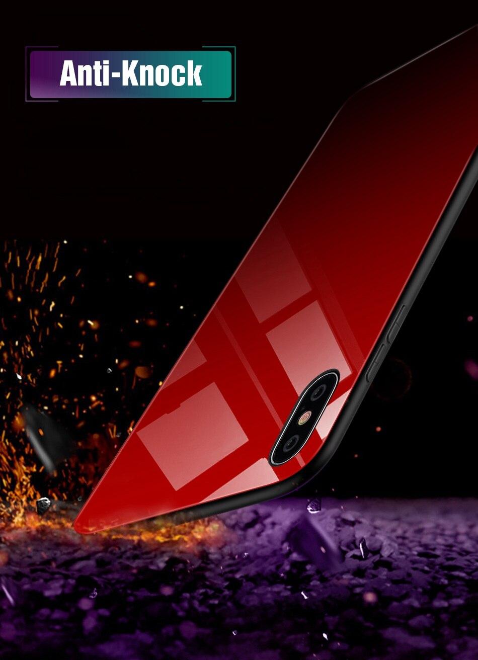 iPhone X Xr Xs Max豪华硅胶手机壳适用于iPhone 6的iPhone 7 8 Plus手机壳适用于iPhone 6 6S Coque的渐变钢化玻璃保护套(7)