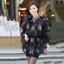 Hot Selling 2017 New Women Genuine Silver Fox Fur Coats Jackets Middle long Natural Color Fur Outwear Ladie's Fashion Garment