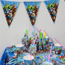 104pcs Cartoon The Avenger Boys Kids Birthday Decoration supplies paper plates + cups +flags +tablecloth party favors set for 20