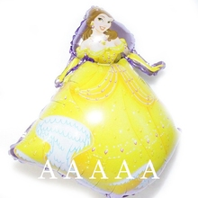 2pc/lot 70*48cm mylar balloons cartoon girl belle princess balloon birthday party supplies helium globos balloons
