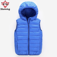 4-13 Years Girl and Boy Hooded Warm Candy Color Vest Fashion 2017 Winter Boys Down Sports Vests Kids Coats for G