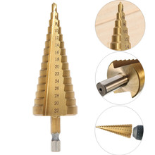 1pc New 4-32mm HSS Step Cone Drill Bit Set Titanium Coated Hole Cutter For Wooworking Tool