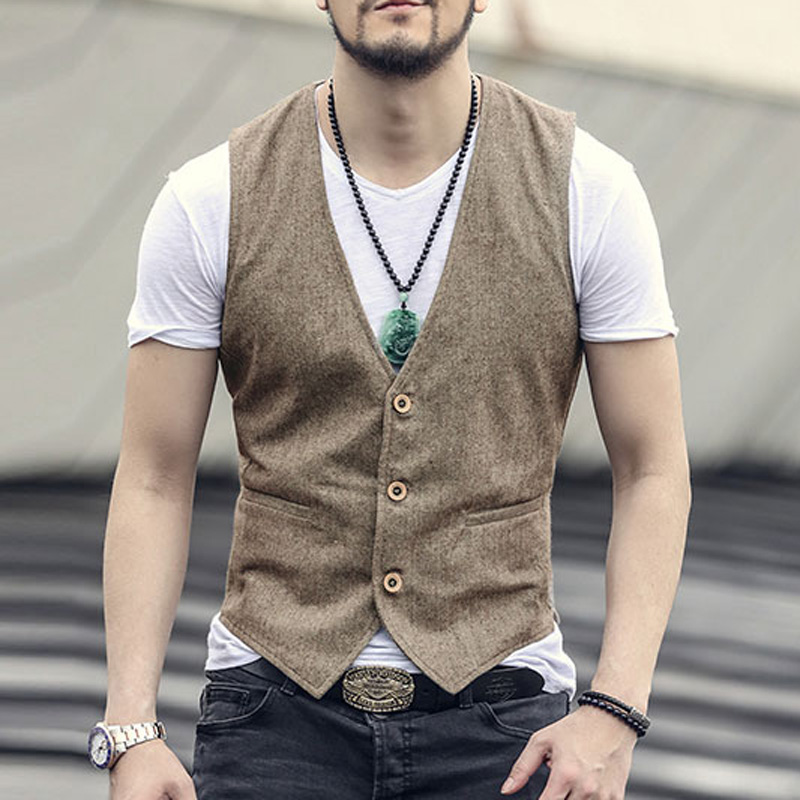 2017 new spring & summer Khaki color single breasted cotton linen vest casual mens suit vest wedding waistcoat brand clothing(China (Mainland))