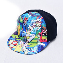 New Kids Baseball Cap Fashion Pokemon Cartoon Hip Hop Flat Hat Children Snapback Caps For Boys Girls