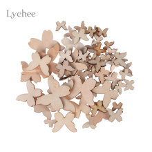 Lychee 50pcs/Lot Blank Unfinished Wooden Butterfly Crafts Supplies Laser Cut Rustic DIY Wood Wedding Rings Ornaments Mixed Size(China)