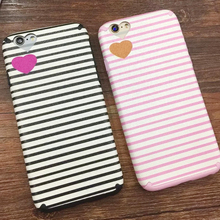 High Quality Pink Black Stripe Heart Silk Print Case For iPhone 6 6s 6Plus 6s Plus Heart Camera Window Soft TPU Phone Capa Coque