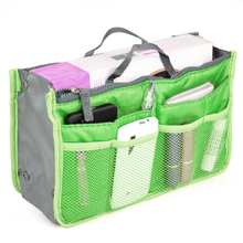 Green Travel Organizer Handbag Pouch Bag in Bag Organiser Insert Cosmetic Pocket