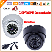 Mini HD 720P 960P IP Camera Audio Input With External Pickup Microphone Security Dome Indoor Camera IP Audio ONVIF P2P IP Cam
